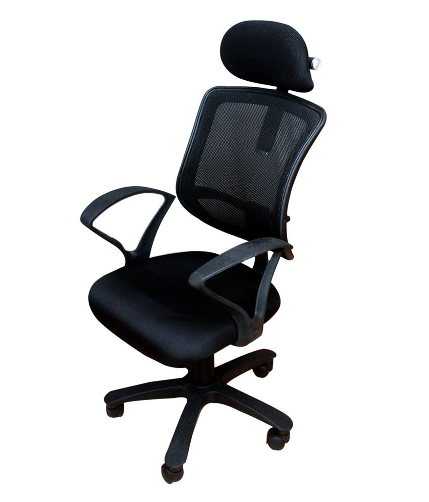 High Back Office Chair With Adjustable Head Rest In Black