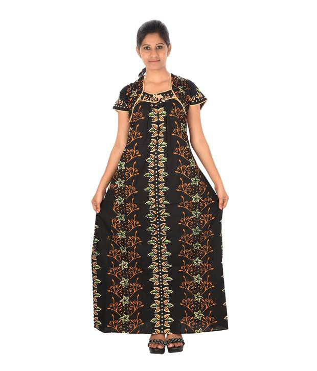 Maa Collection Black Cotton Nighty