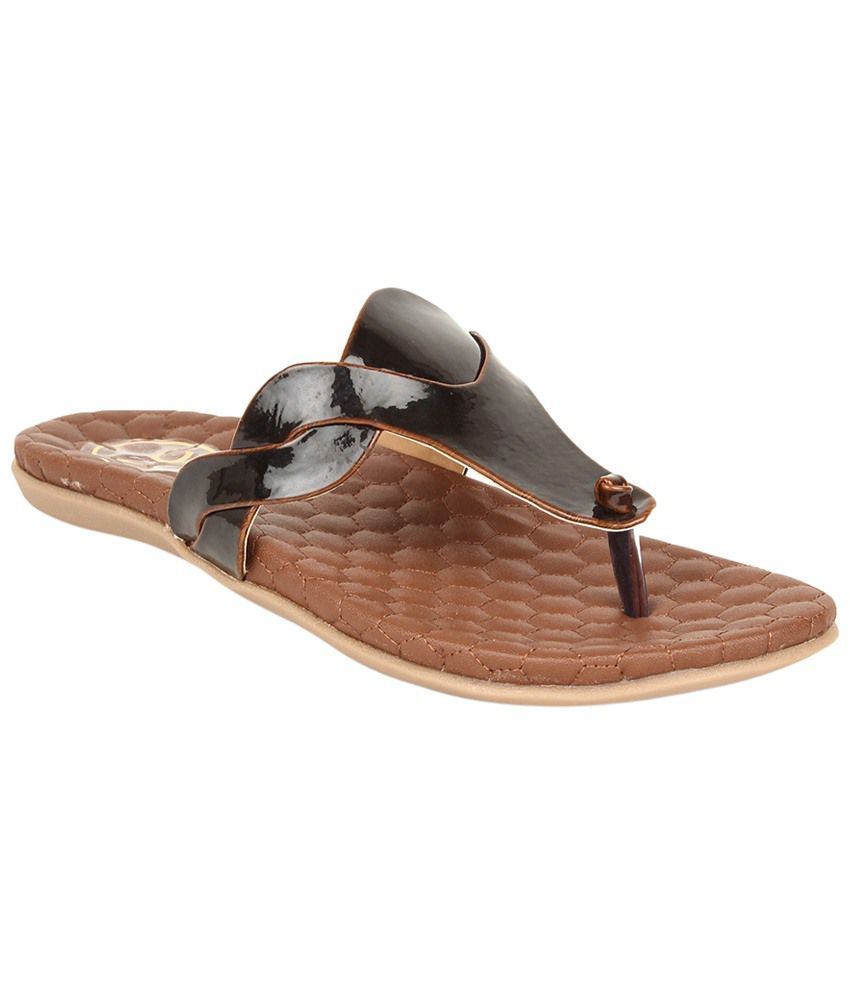 Lovely Chick Black & Brown Flats for Women