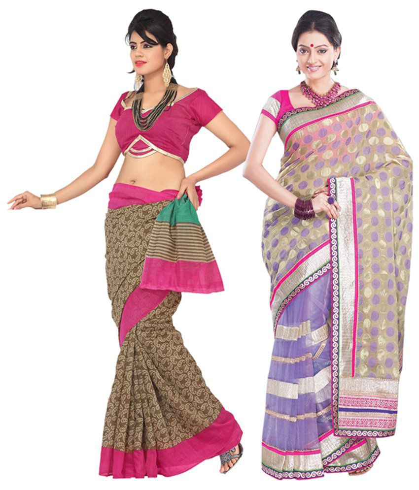 Womantra Green & Multi-coloured Bhagalpuri Silk Saree (Pack of 2)