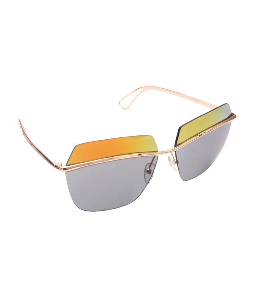 6by6 Multicolor & Gold Rectangle Unisex Sunglasses