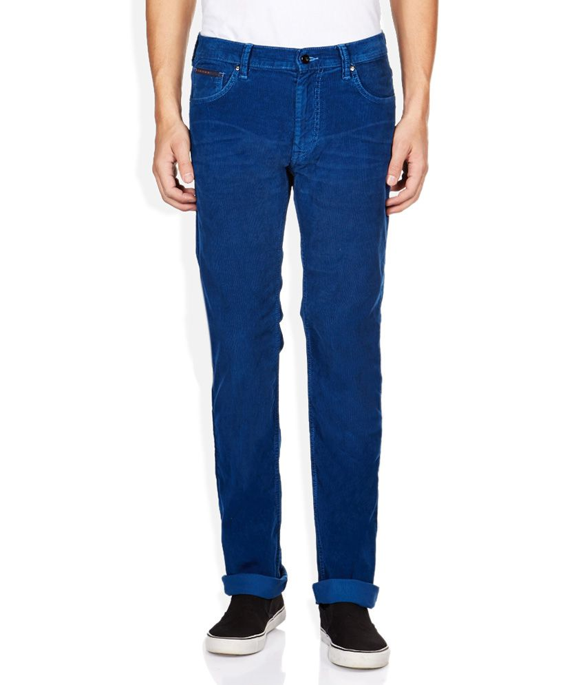 Lee Blue Solid Chinos
