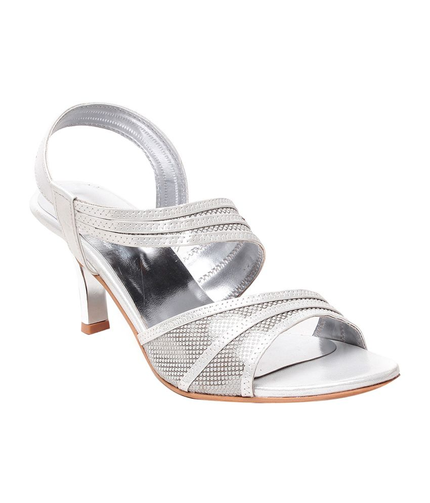 Nell Silver Faux Leather Open Toe Heeled Sandals