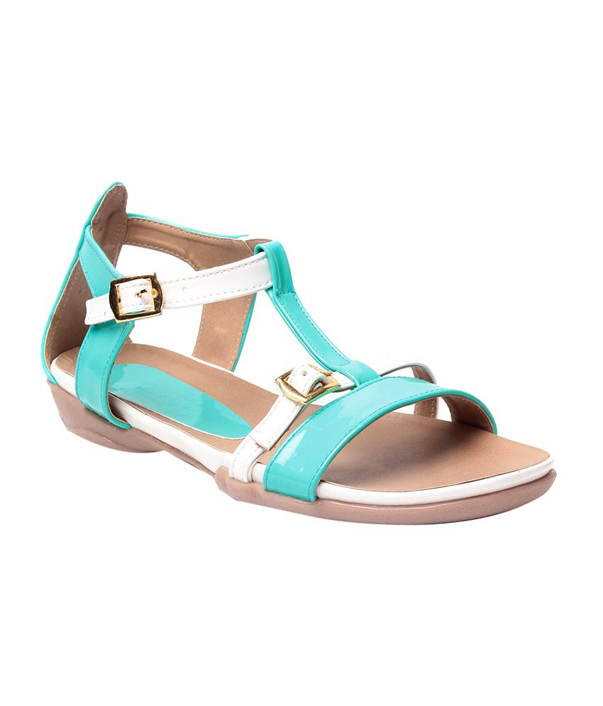 Nell Turquoise Faux Leather Sandals