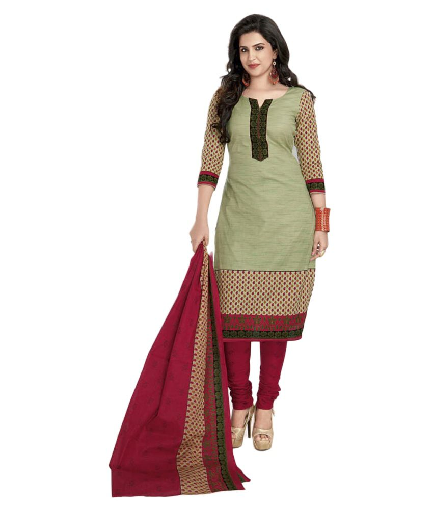 599a0f88ac Shree Ganesh Green Cotton Straight Unstitched Dress Material Price ...