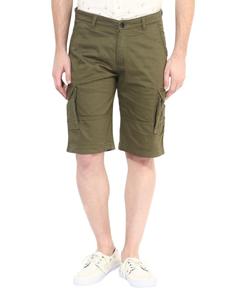Silver Streak Green Cargo Shorts
