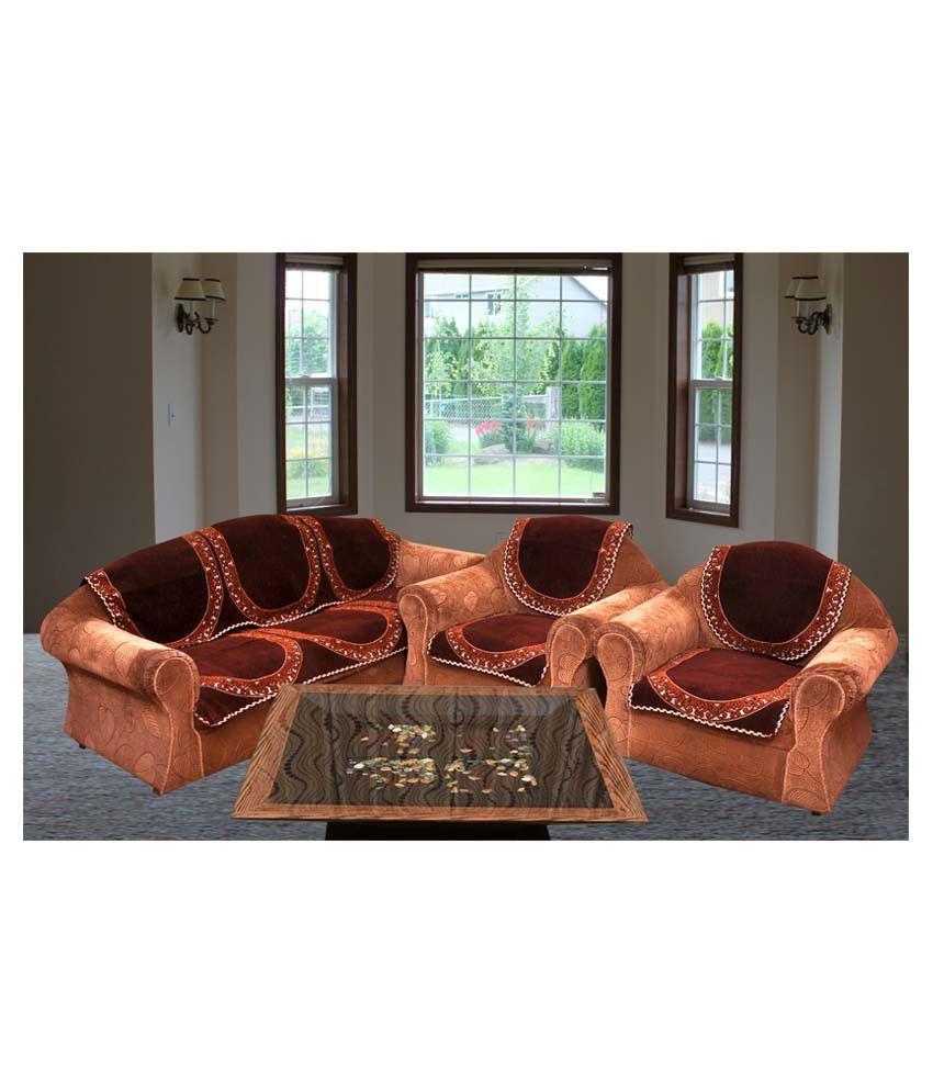 Bhavya Plain Chenille Sofa Cover Set Of 10