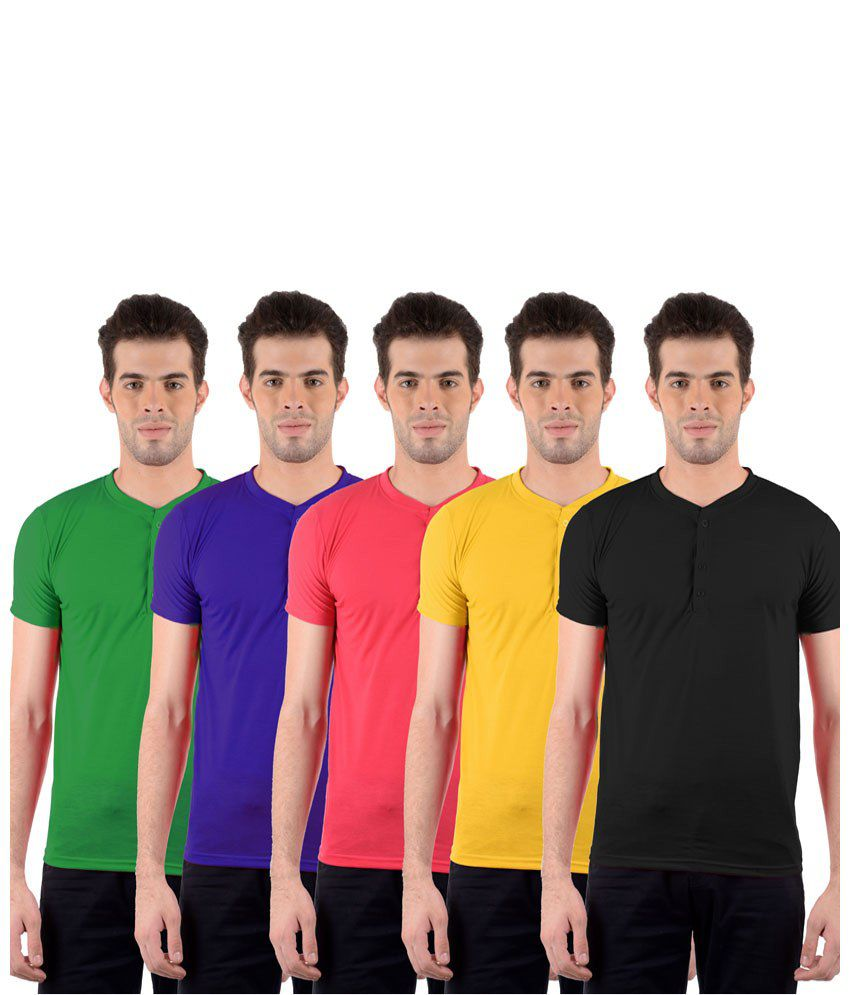 GDivine Enticing Multicolour Pack of 5 T Shirts for Men