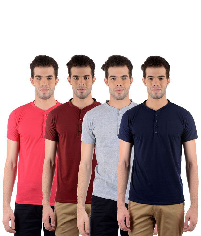 GDivine Fashionable Multicolour Pack of 4 T Shirts for Men