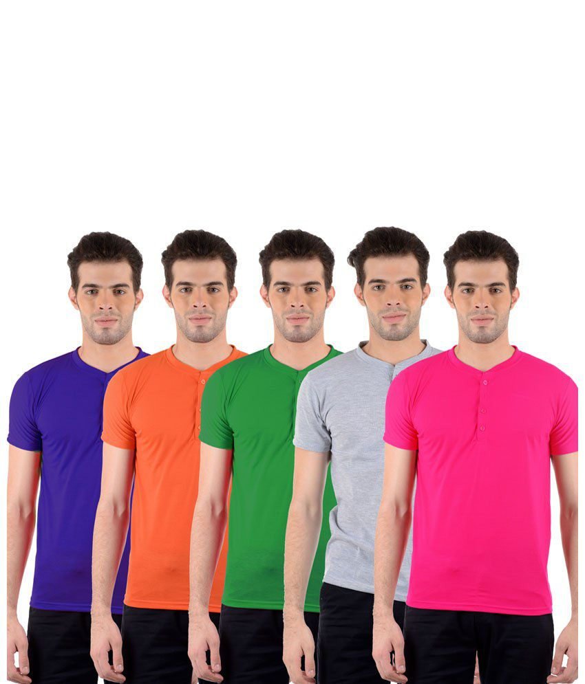 GDivine Stylish Multicolour Pack of 5 T Shirts for Men