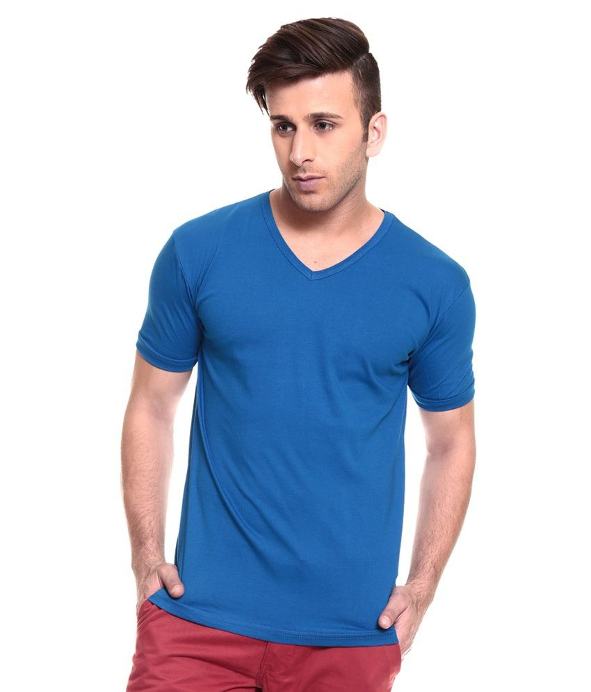Kabs Men's Collections Blue Cotton V-Neck T-shirt