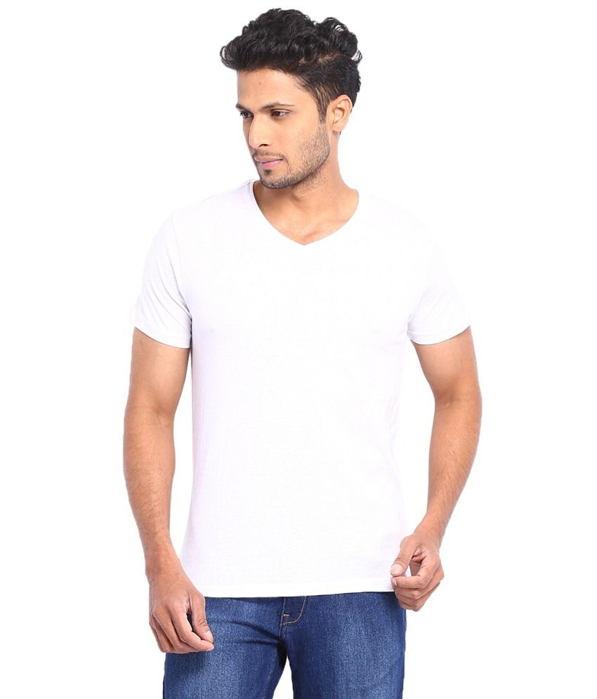 Kabs Men's Collections White Cotton V-Neck T-shirt