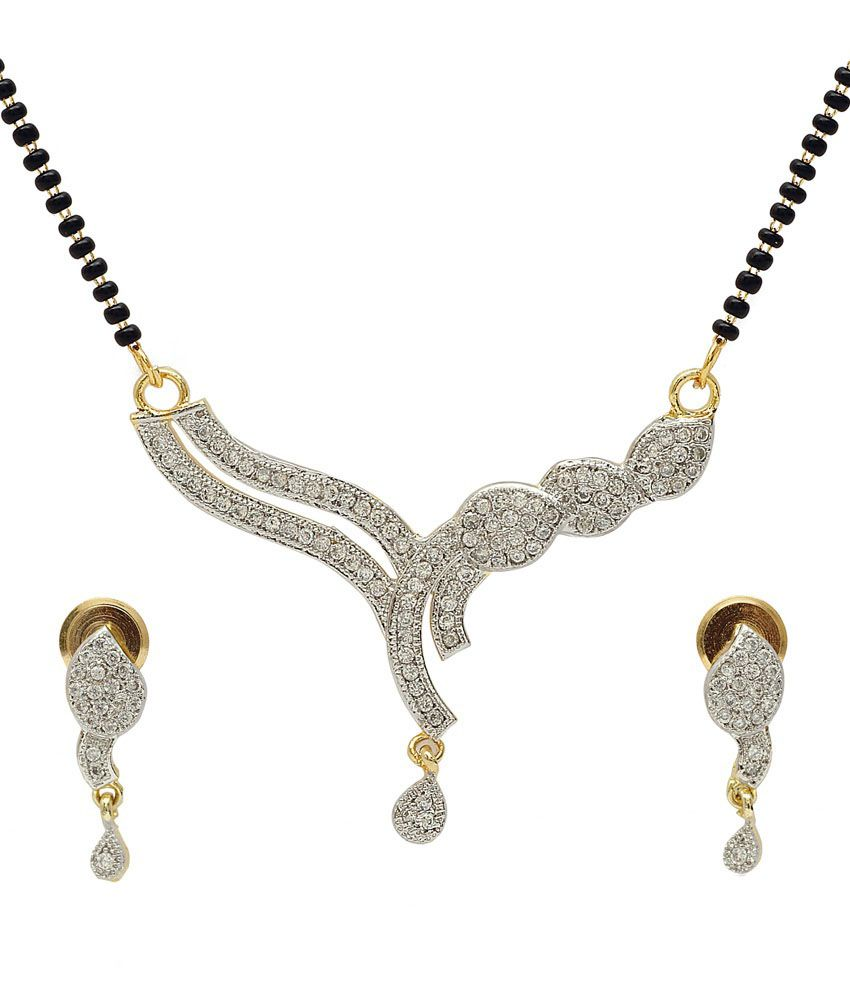 Luxor Silver Alloy American diamonds Mangalsutra set