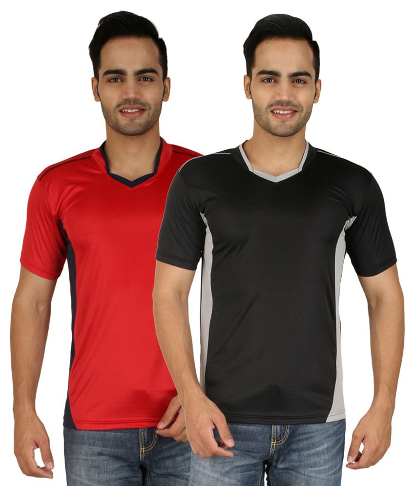 Nimya Red and Black Sport T Shirts - Pack of 2