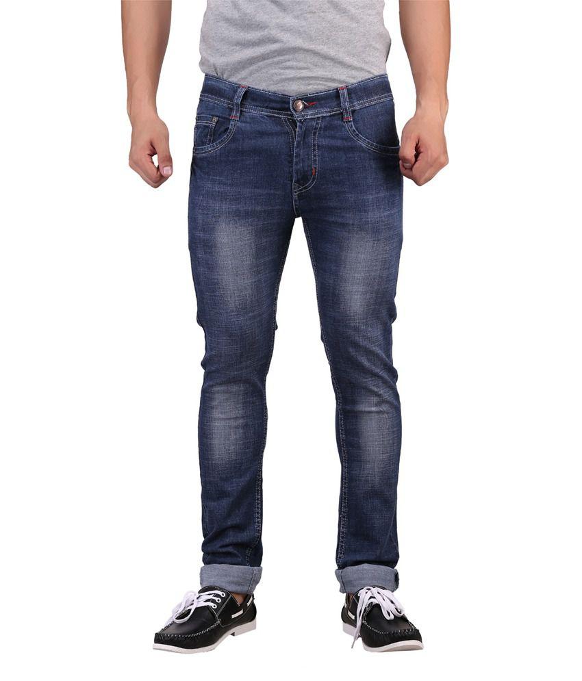 X-Cross Blue Cotton Blend Regular Fit Jeans