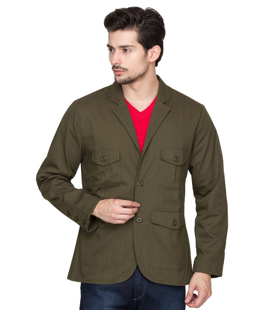 Hypernation Military Green Cotton Casual Blazer