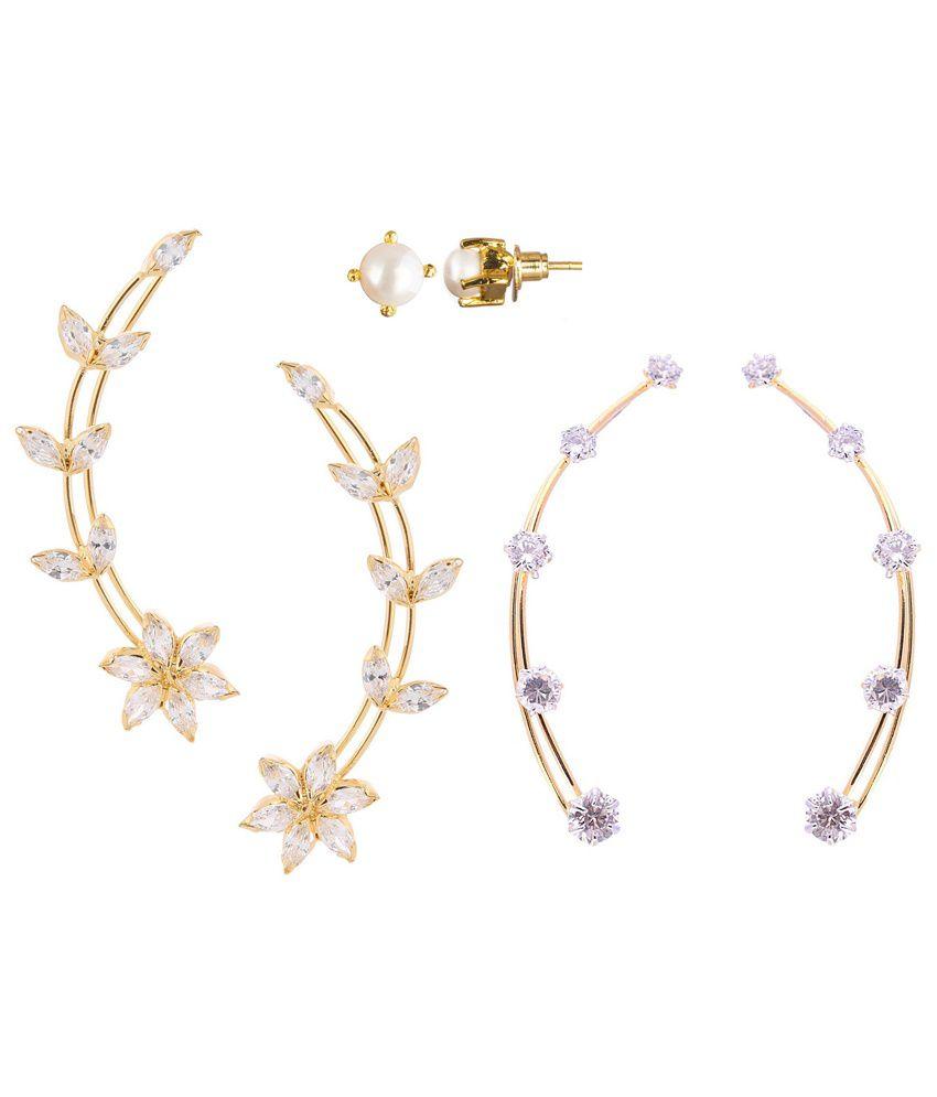 Parijaat Golden Alloy Combo Of 2 Ear Cuffs & Pearl Stud Earrings