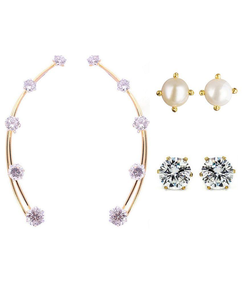 Parijaat Pink & Golden Alloy Combo Of Ear Cuffs & 2 Solitaire Stud Earrings