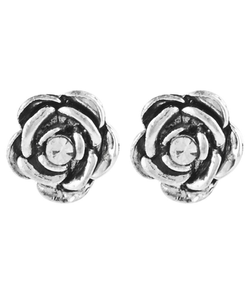 Shining Jewel Silver Alloy Antique Screw Back Hanging Earrings