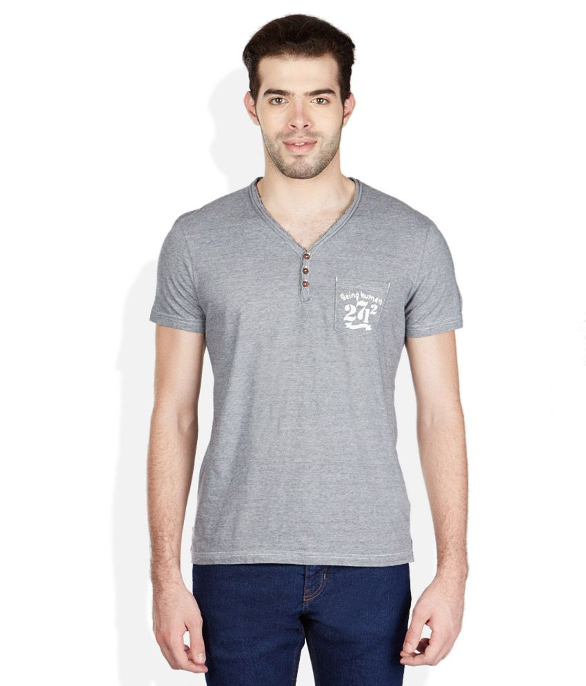Being Human Grey Solid Henley T Shirt