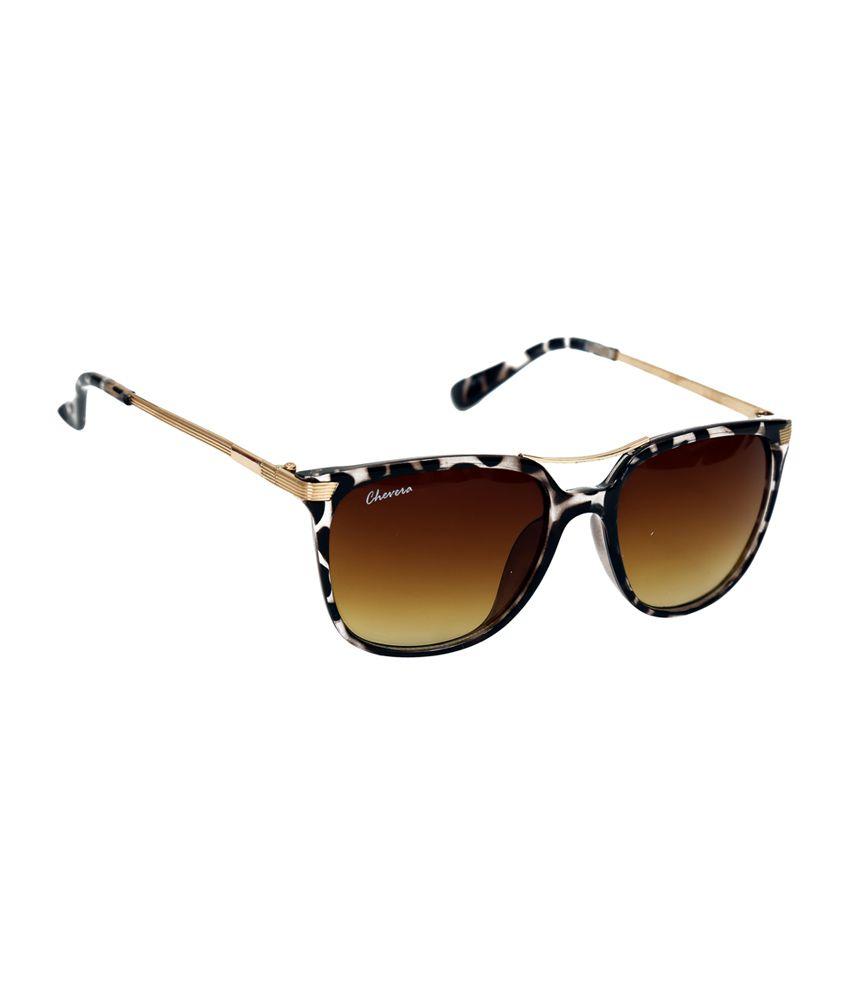 Chevera Brown Unisex Wayfarer Sunglasses (CHFB49)