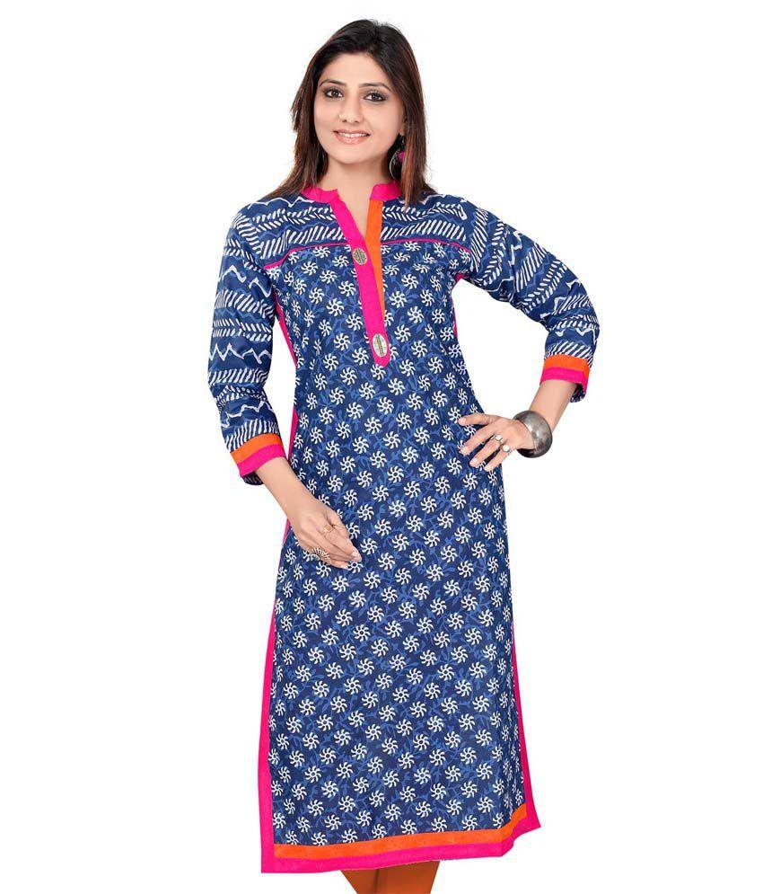 designer kurtis blue cotton printed kurti price in india
