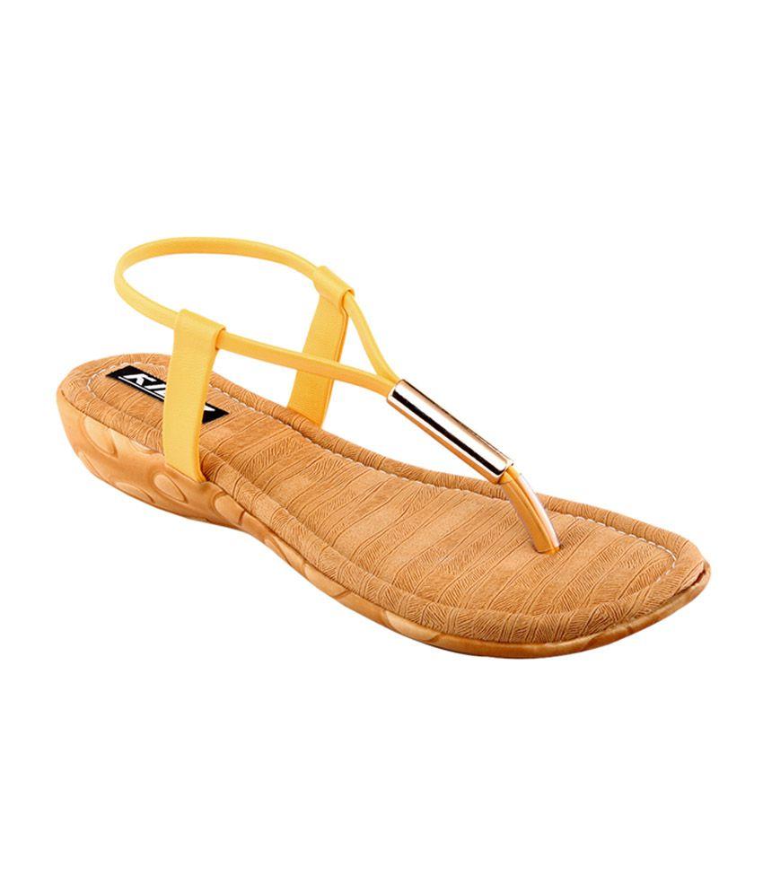 Kielz Tan & Yellow Faux Leather Sandals