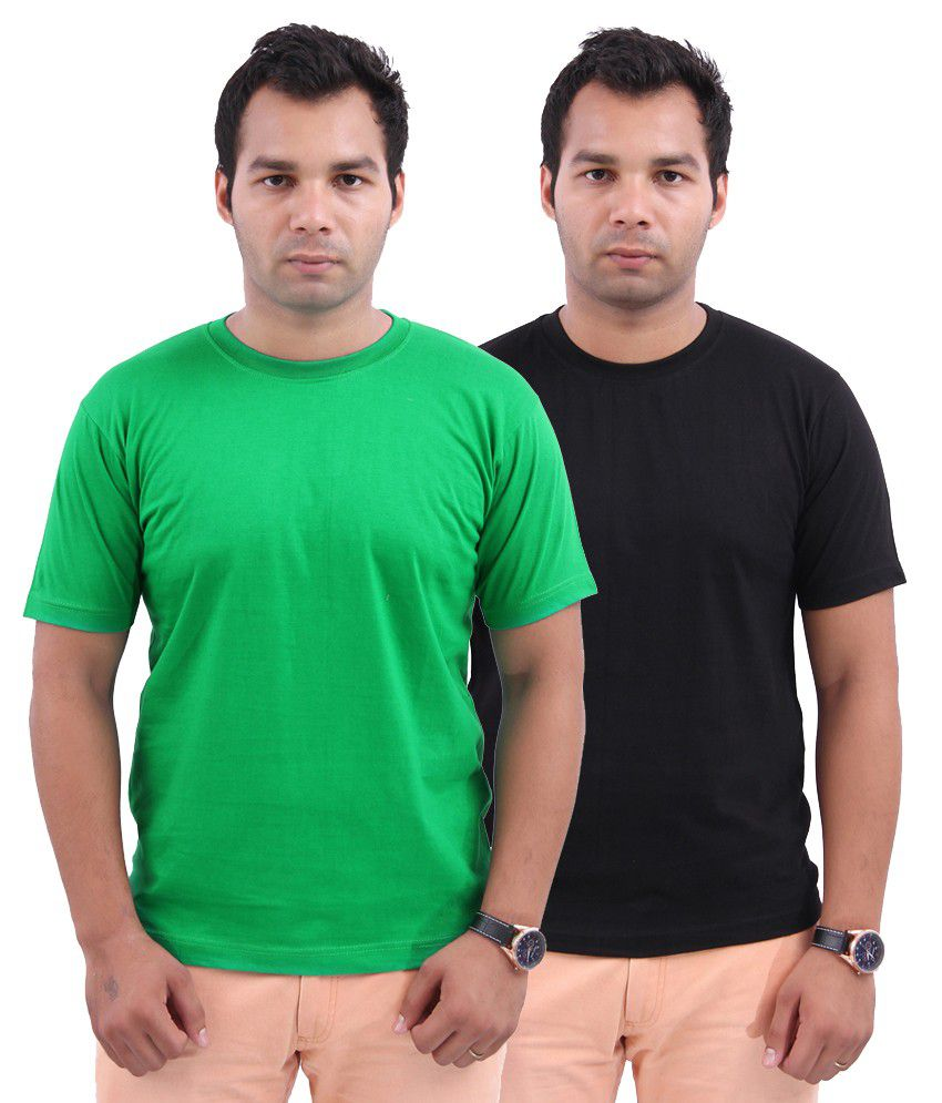 Stylenfly Cotton Green & Black T-Shirts Combo of 2