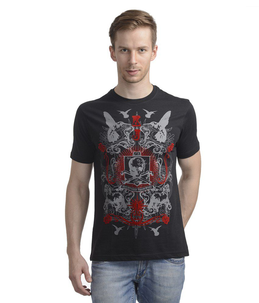Wrig Black Cotton T Shirt