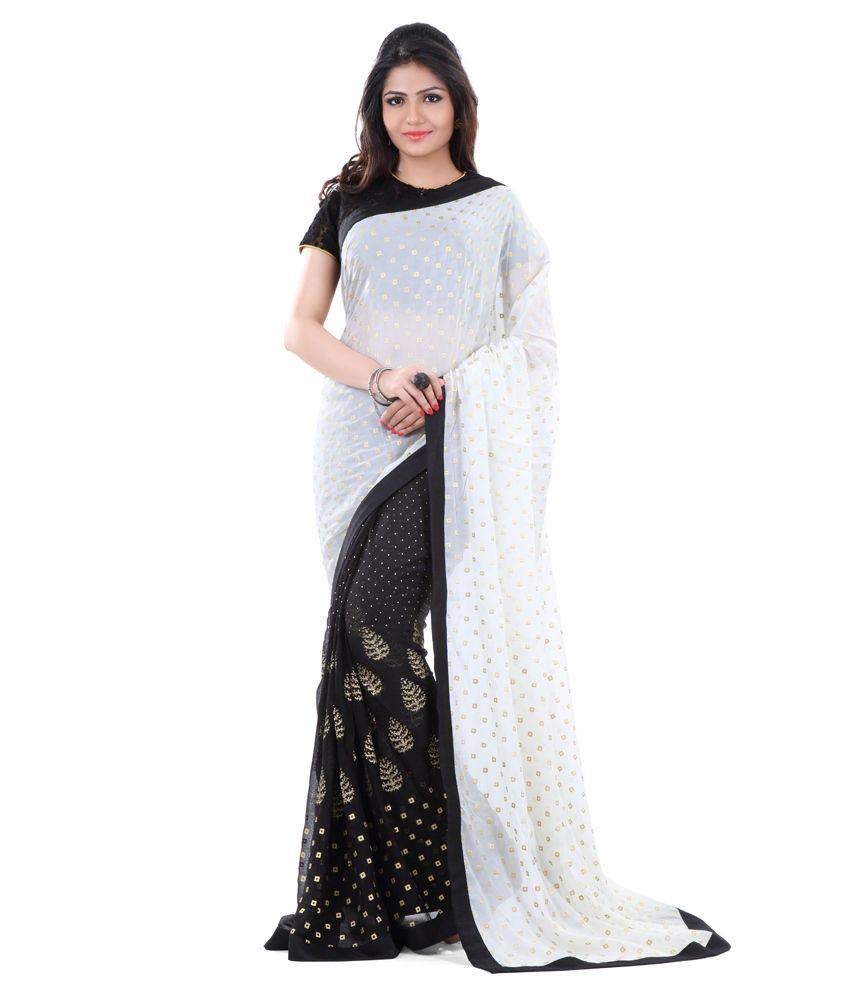 457222d01 Club Art Decor White Net Saree - Buy Club Art Decor White Net Saree Online  at Low Price - Snapdeal.com