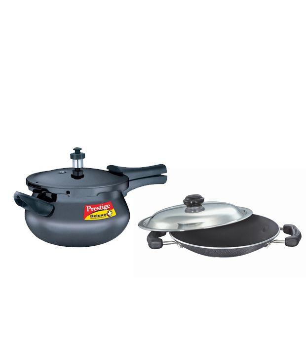 Combo of Prestige Deluxe Plus Mini Handi 3.3 Ltr Pressure Cooker & Omega Select Plus Appachatty