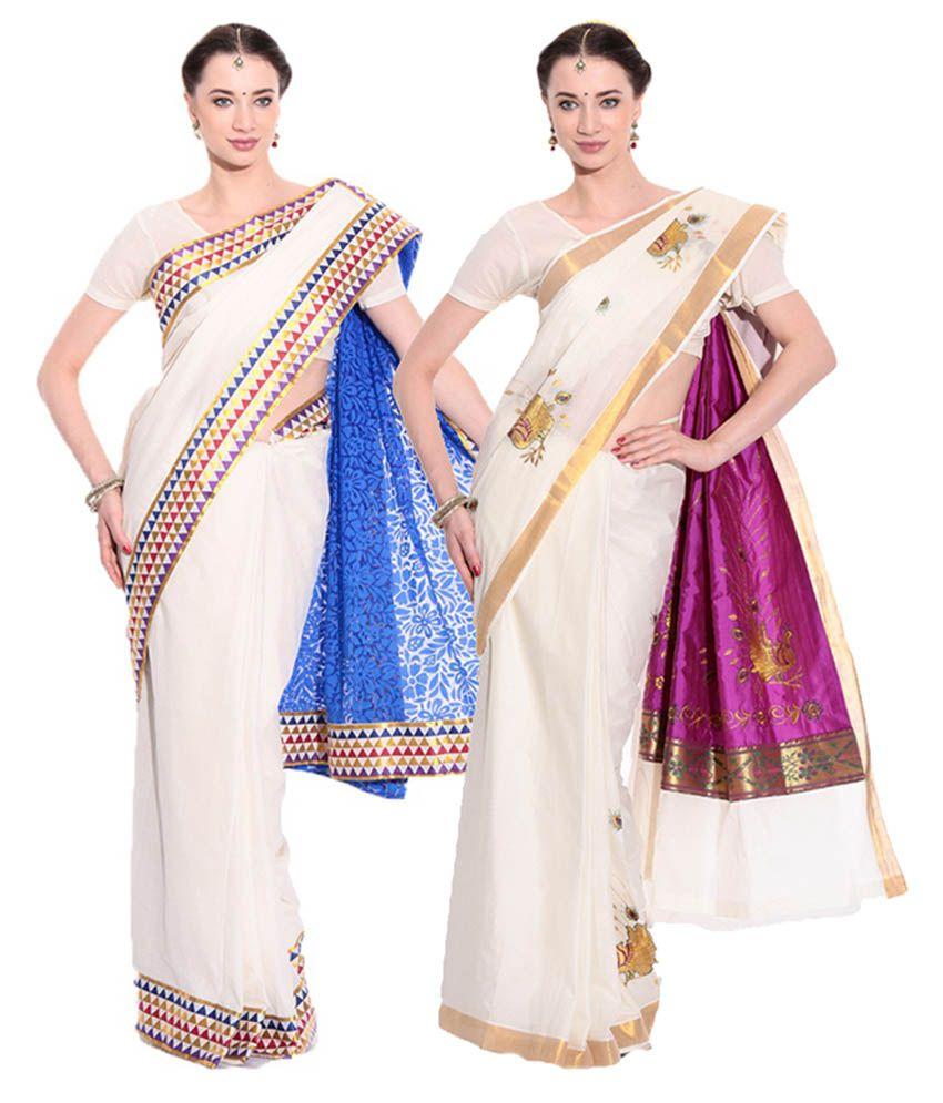 Fashion Kiosks White Kerala Kasavu Cotton Saree with Matching Blouse (Pack  of 2)