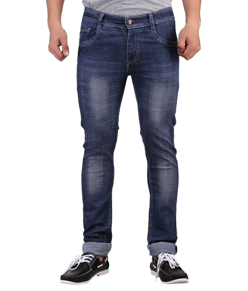 X-CROSS Blue Cotton Blend Regular Fit Jeans