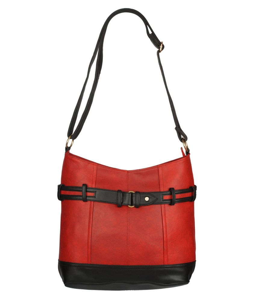 Black & Yellow Red Non Leather Sling Bag