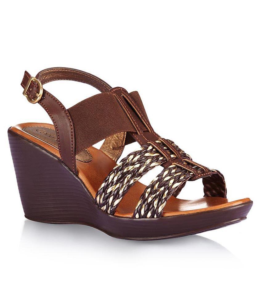 Catwalk Brown Wedge Heeled Sandals
