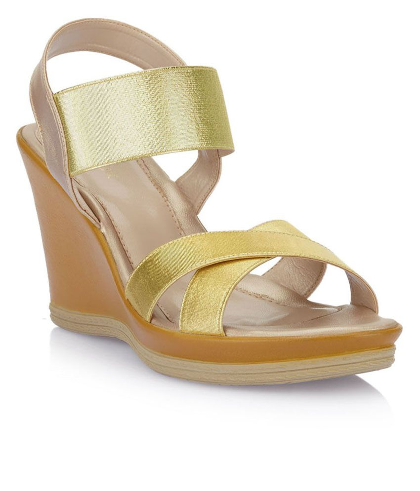 7d316dee13a0f5 Catwalk Gold Wedge Heeled Sandals Price in India- Buy Catwalk Gold Wedge  Heeled Sandals Online at Snapdeal