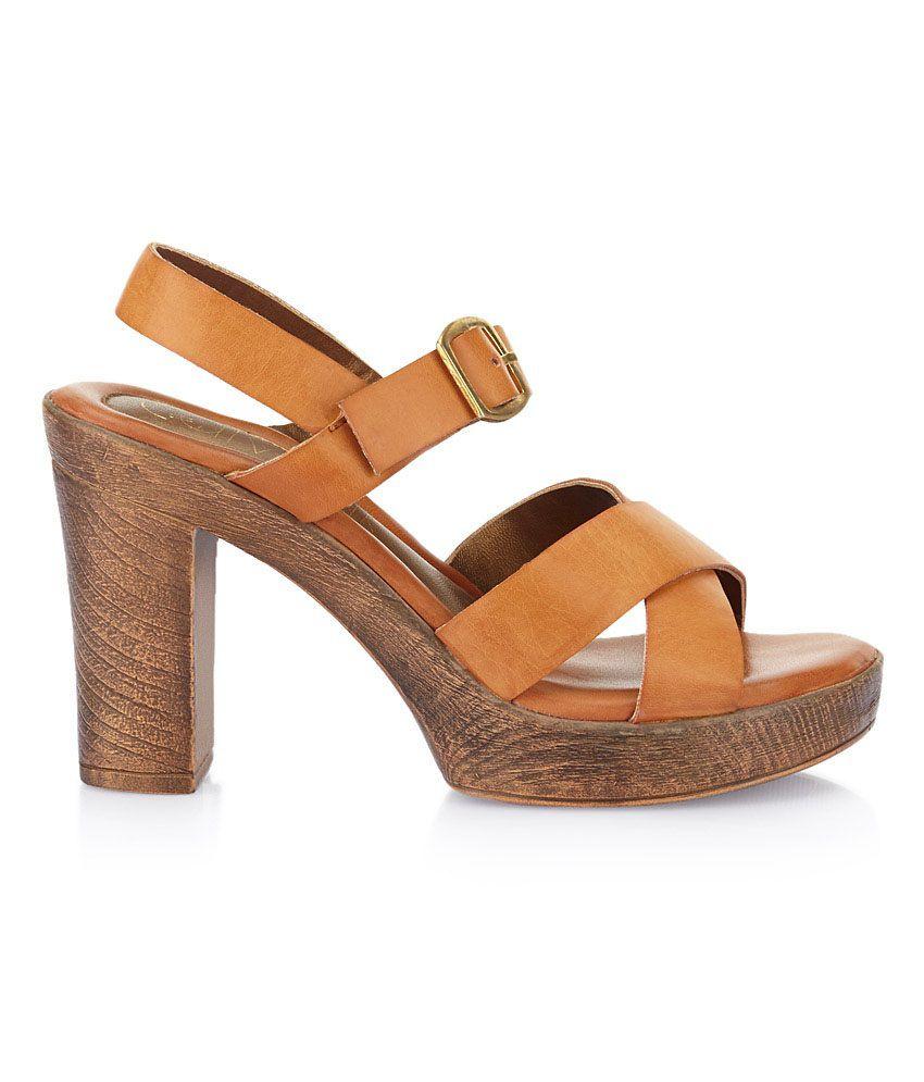 713c83bae1c Catwalk Tan Block Heeled Sandals Price in India- Buy Catwalk Tan ...