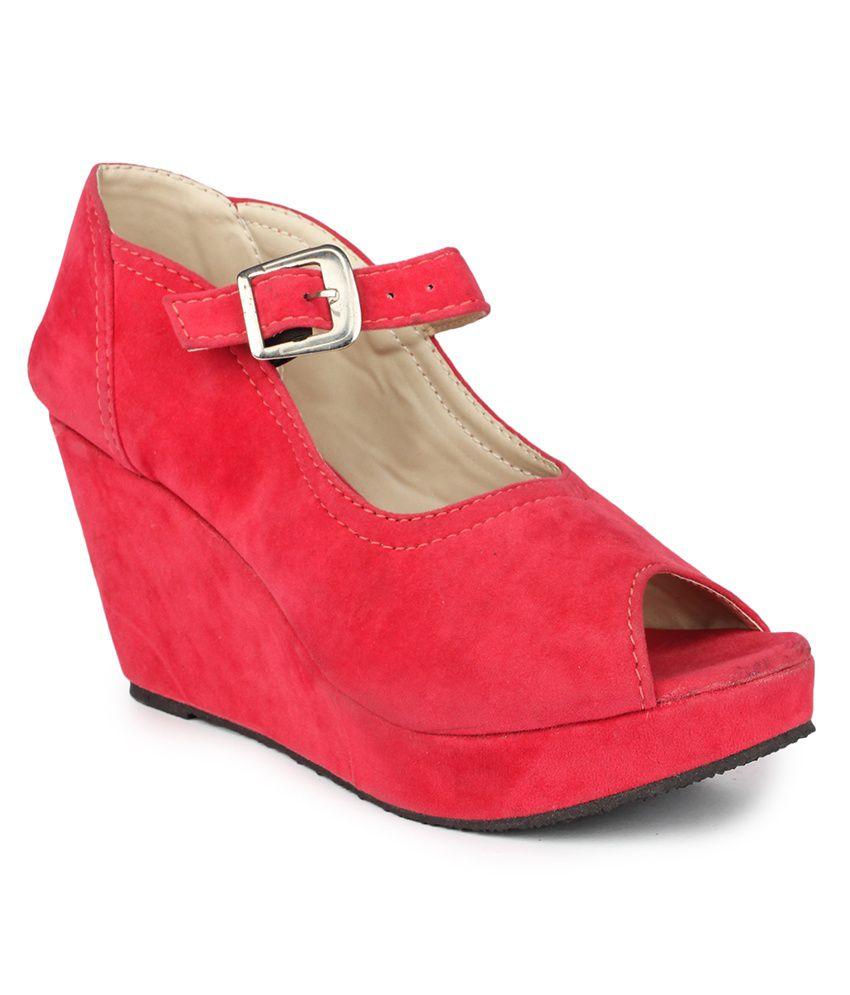 DJH Red Wedges Sandals