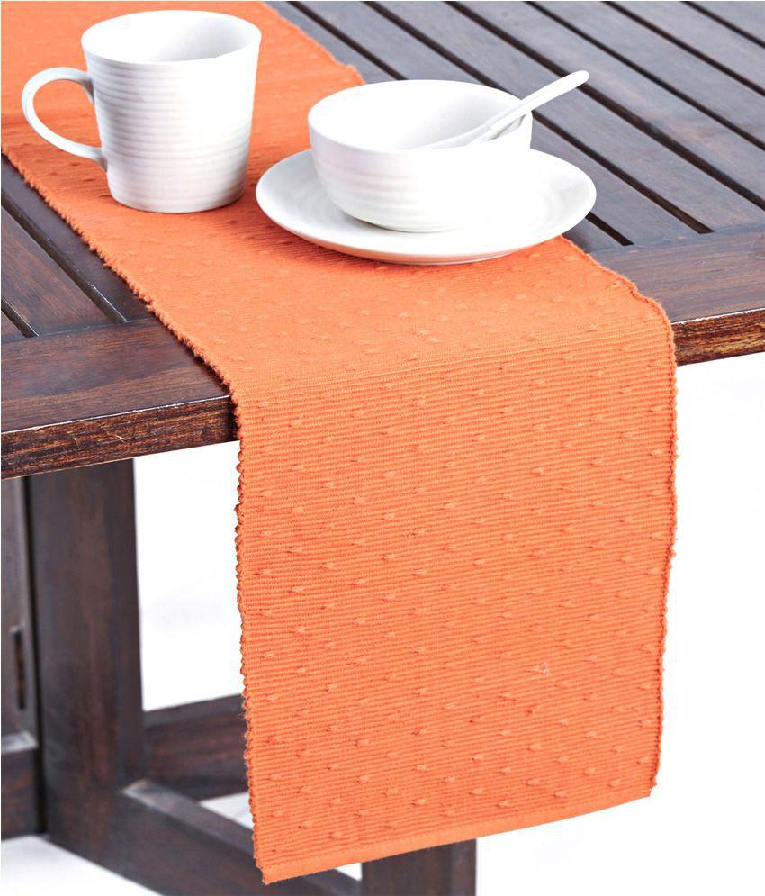 Fabindia Orange Plain Table Runner 6 Seater Buy