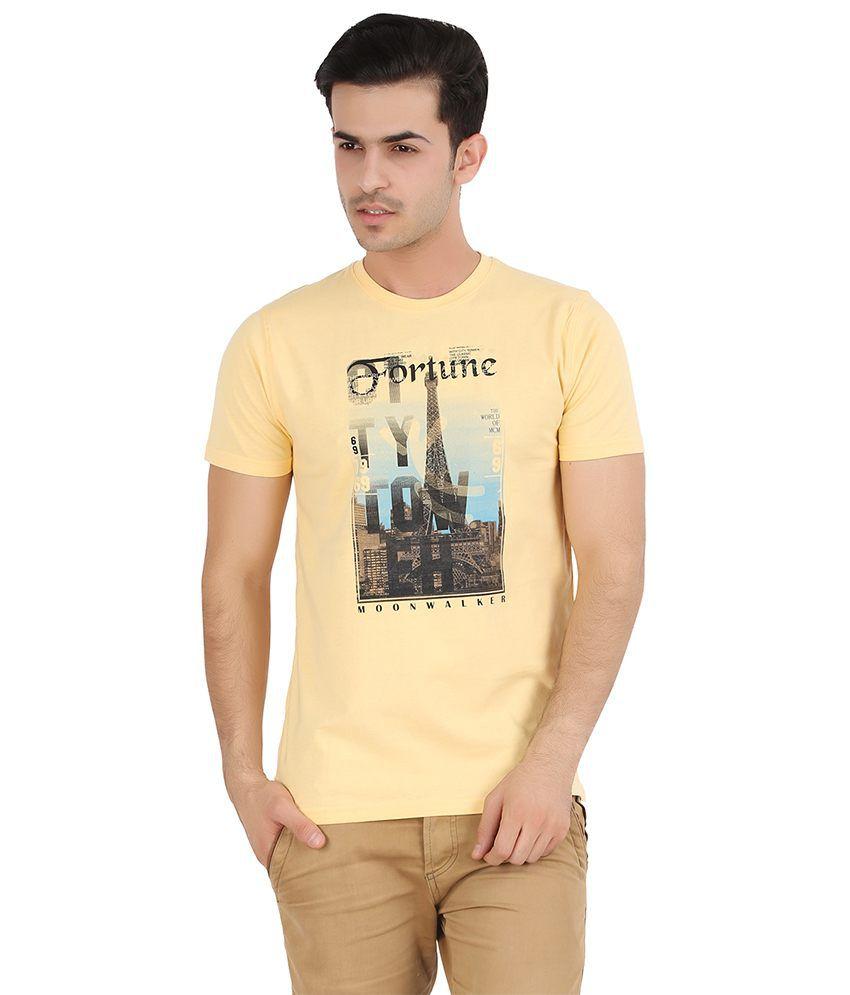 Moonwalker Yellow Cotton Half Sleeve Round Neck T-Shirt