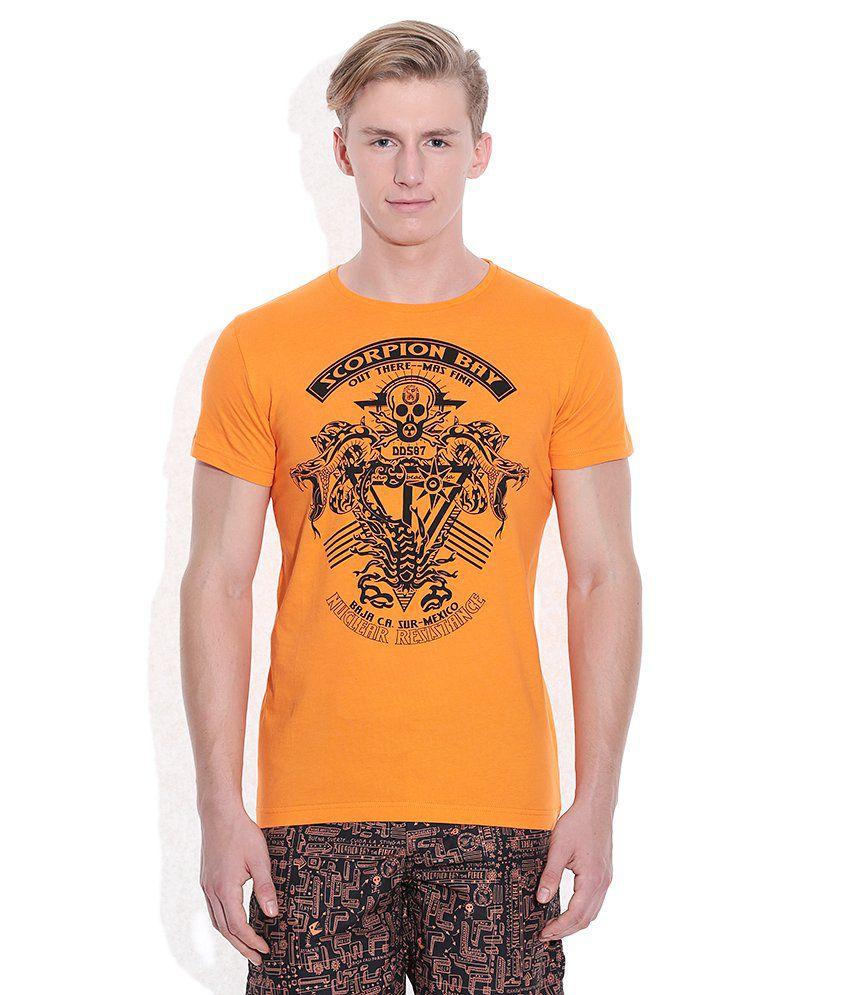 Scorpion Orange Printed Round Neck T Shirt