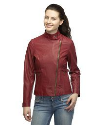 Lambency Maroon Leather Jackets