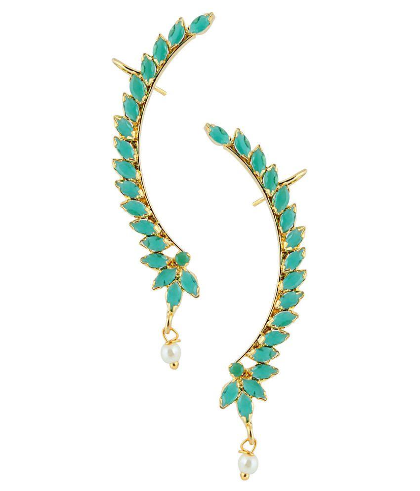 Archi Collection Green American Diamond Studded Designer Earcuffs