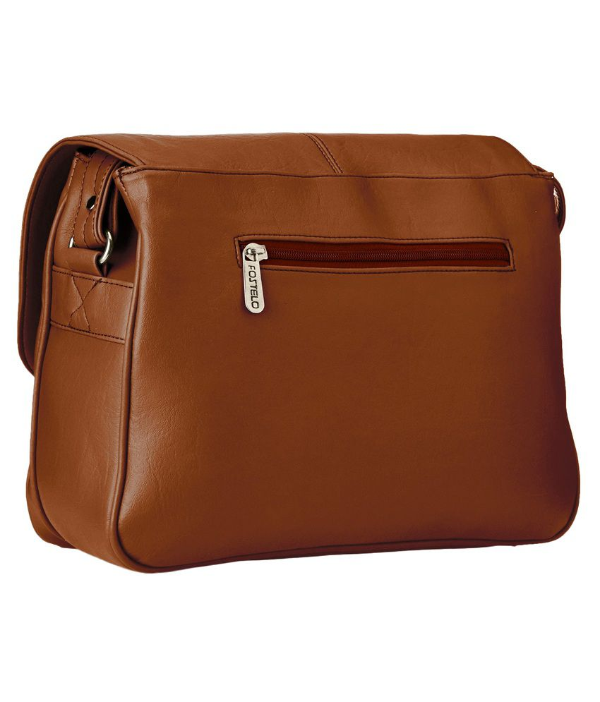 Fostelo Brown Faux Leather Sling Bag - Buy Fostelo Brown Faux ...