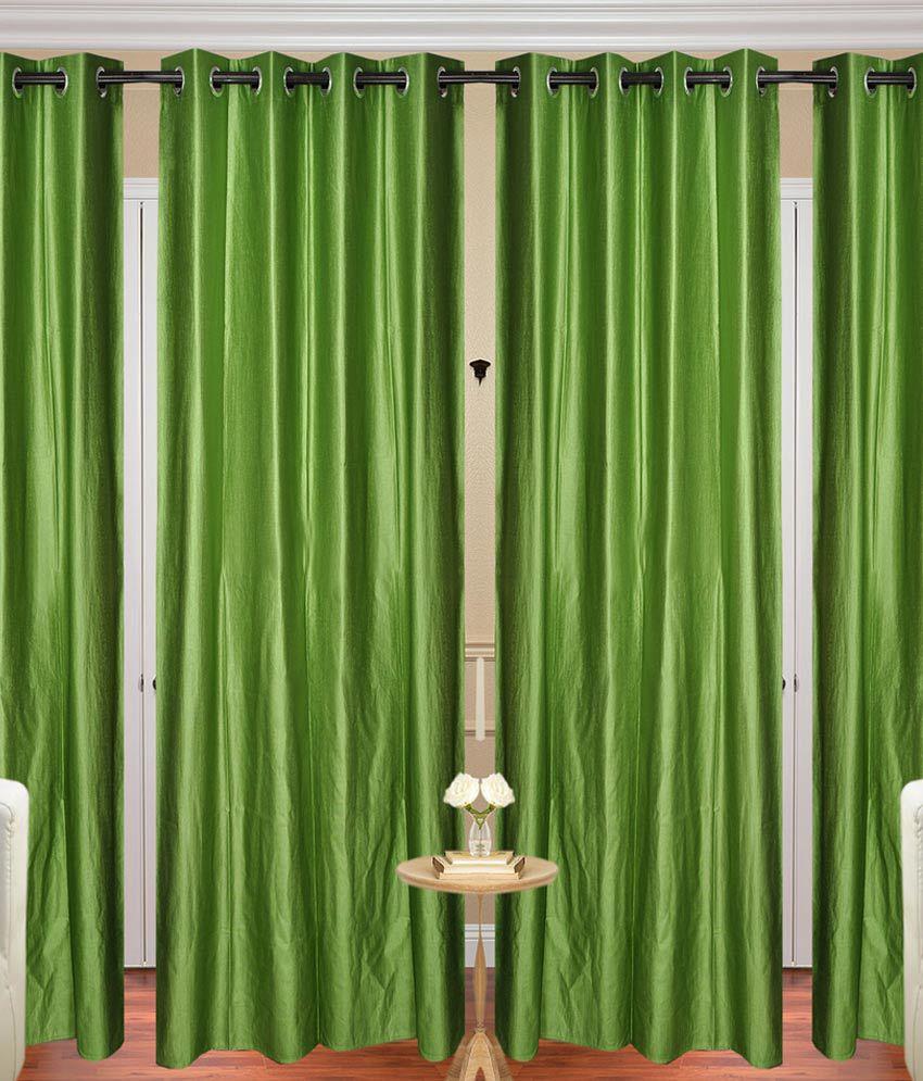 Handloom Hut Set of 4 Door Eyelet Curtains Solid Green
