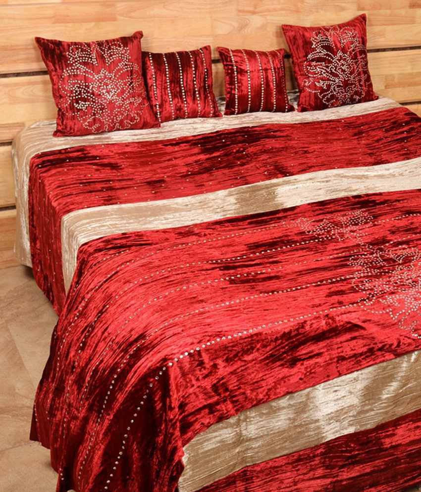 Wonderful Shree Creations Red Velvet Bed Sheets ...