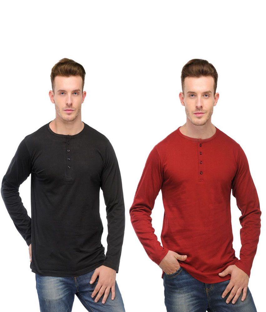Ansh Fashion Wear Red and Black Basics Wear T-Shirt - Pack of 2