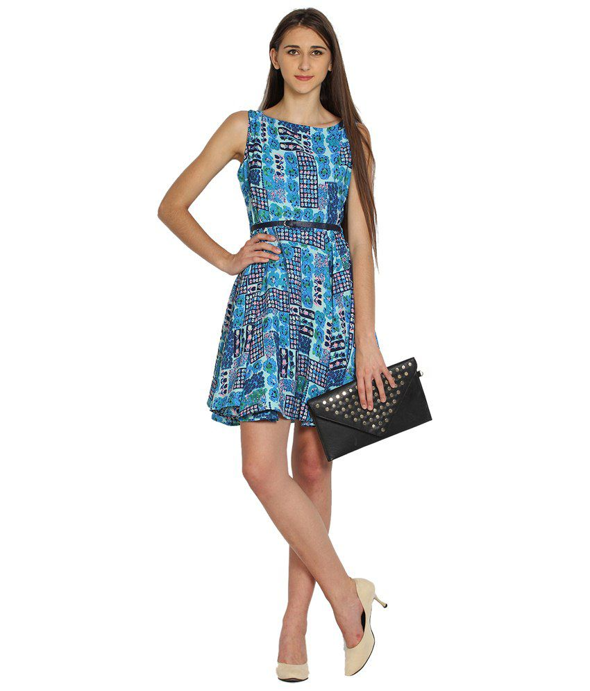 Folklore Blue Floral Skater Dress for Women - Buy Folklore Blue ... 9c5345bbd