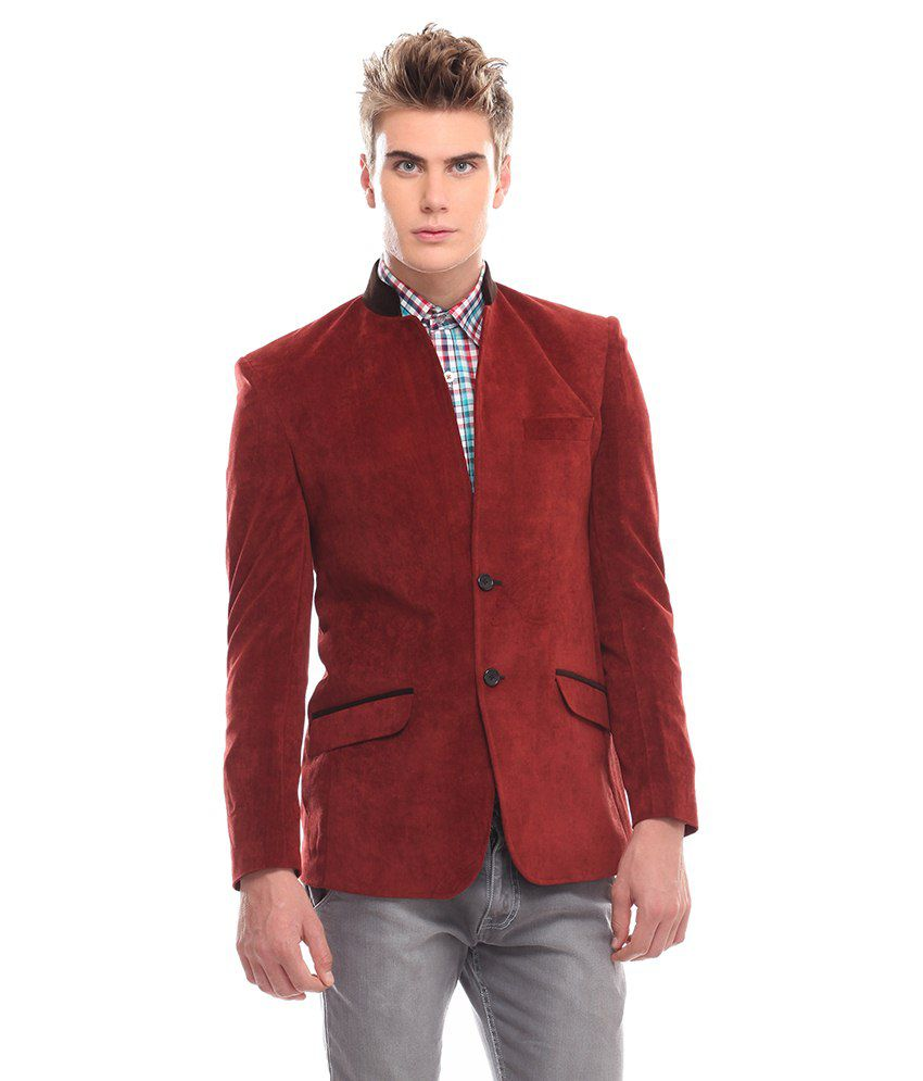 Jogur Maroon Polyester Blazer