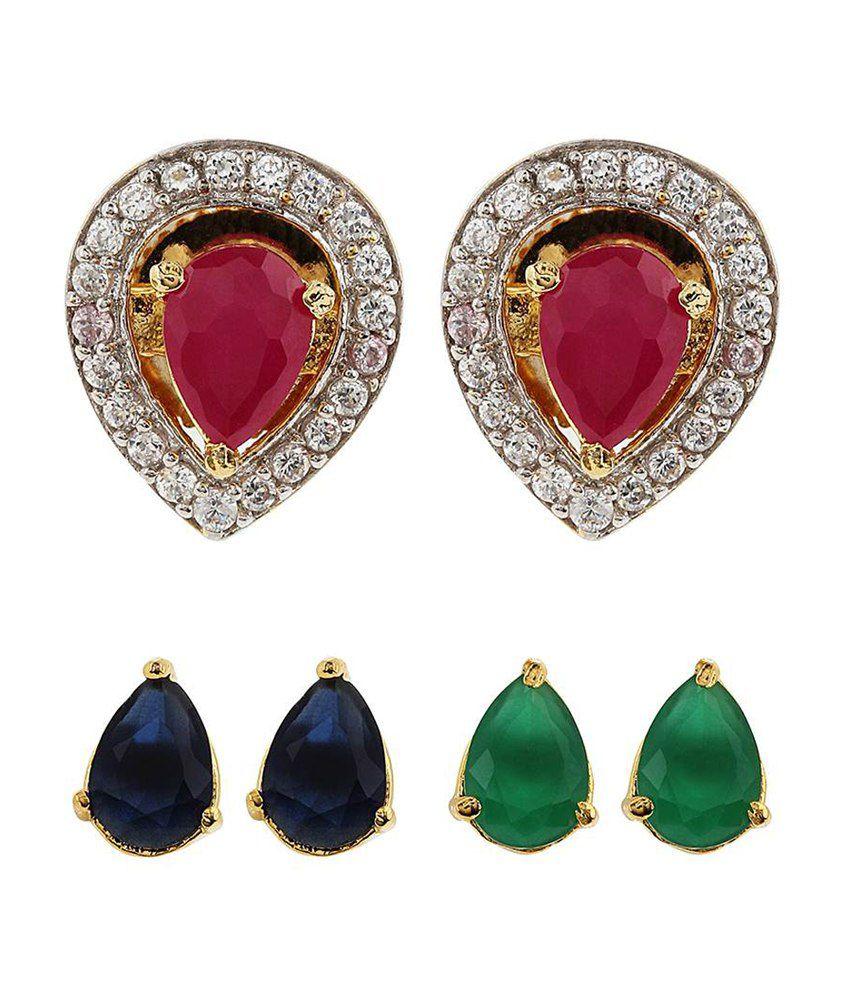 Jwells & More Trendy Interchangeable Stone Stud Earrings